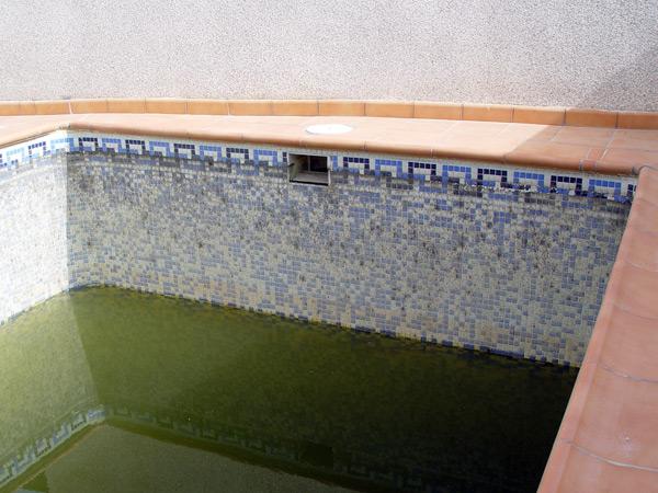 piscina de gresite sucia